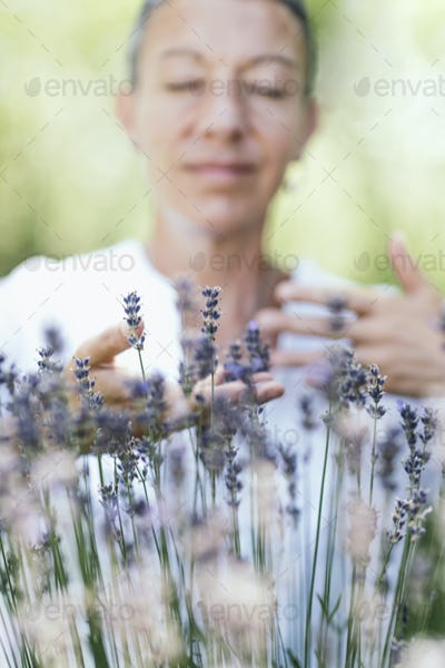 Self-Care Practice in Nature. Breathing Exercise in the Lavender Field.