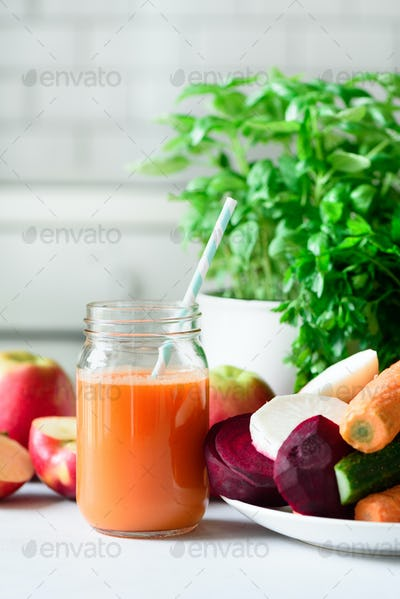 Fresh juice or smoothie, fruits and vegetable - apples, carrot, beet, celery, cucumber, greens