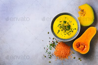 Vegetable and lentils creamy soup, cut pumpkin, seeds, parsley on light grey background. Top view
