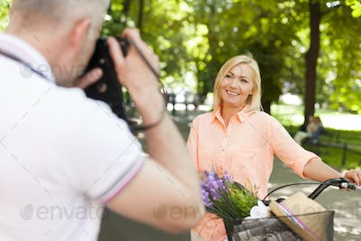 Mature woman posing for a photo