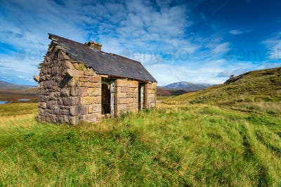 An old bothy at Elphin in Scotland