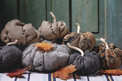 Textile pumpkins for home decor