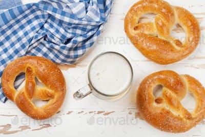 Oktoberfest. Pretzels and beer mug