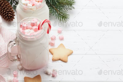 Traditional christmas cocktail with marshmallow