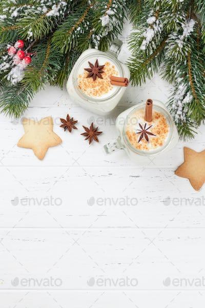 Eggnog. Traditional christmas cocktail