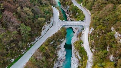 Napoleon Bridge Over Emerald Soca River in Slovenia. Top Down Ae