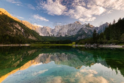 Panoramic View over Fusine Lake in Italy with Julian Alps in Bac