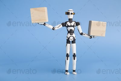 Robot holding two wooden cubes like on scales, comparing variants