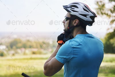 Cyclist enjoying the view during the ride