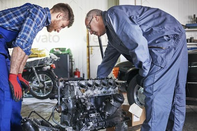 Trying to repair car's engine