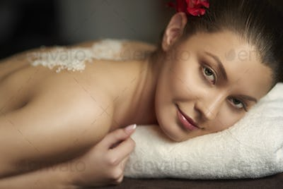Attractive woman waiting for relaxation treatment