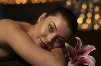 Close up of relaxed woman at spa
