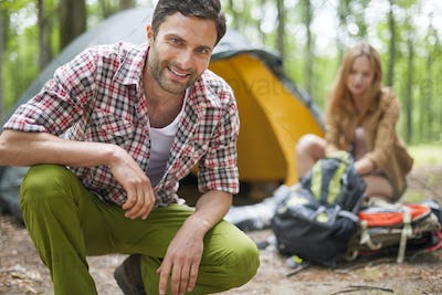 Couple on camping in the forest