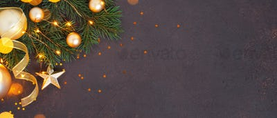 Brown Christmas Banner with Fir Branches and Golden Decoration