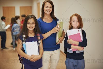 Woman teacher and her best students
