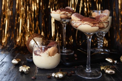 Festive tiramisu in glass