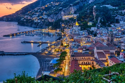 View of Amalfi after sunset