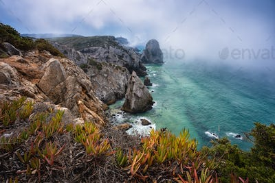 Rugged coastline at atlantic ocean with morning fog, foliage and Cabo da Roca Lighthouse in