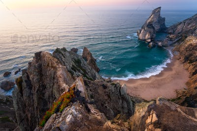 Praia da Ursa Beach from above. Rocky foreground with yellow flowers in sunset lit. Surreal scenery