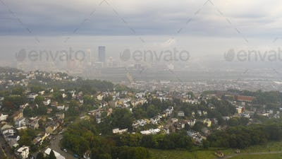 Aerial View Foggy Sky Over Downtown Pittsburgh Pennsylvania USA