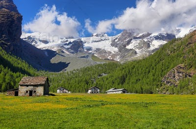 Monte Rosa massif views near Saint Jacques, Aosta Valley, Italy