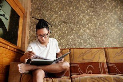 Creative man reading