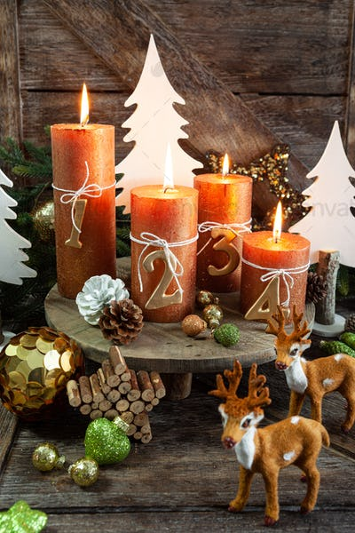 Candles and festive decorations for Christmas