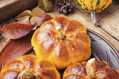 Sweet homemade pumpkin buns