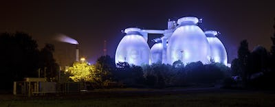 Blue Sewage Plant At Night Panorama
