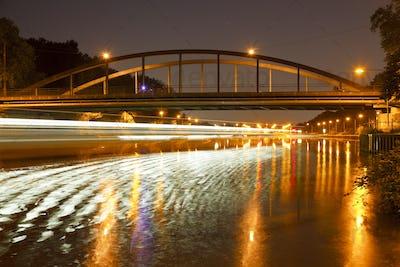 Bridge And Canal Lock At Night