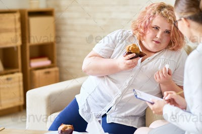 Obese Woman with  Eating Disorder