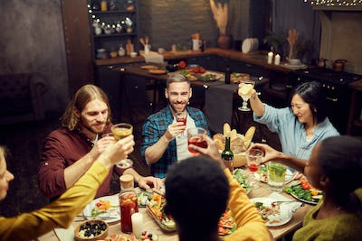 Adult People Enjoying Dinner Party