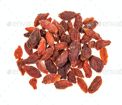 top view of pile of dried goji berries isolated