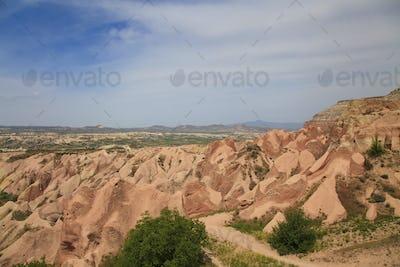 Panorama of Rose Valley in Cappadocia