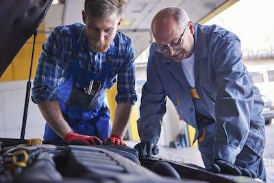 Professional mechanics at popular auto-workshop