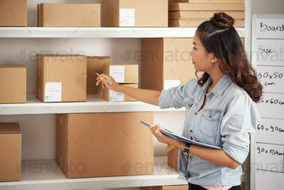 Postwoman working with parcels