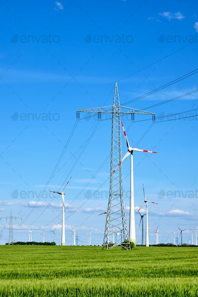 Overhead power lines and wind energy generators