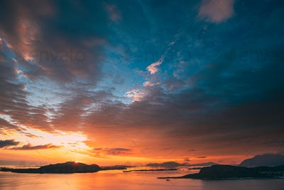 Alesund, Norway. Amazing Natural Bright Dramatic Sky In Warm Col