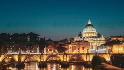 Rome, Italy. Papal Basilica Of St. Peter In The Vatican And Aeli