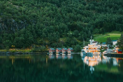 Flam, Norway. Famous Red Wooden Docks In Summer Evening. Small T