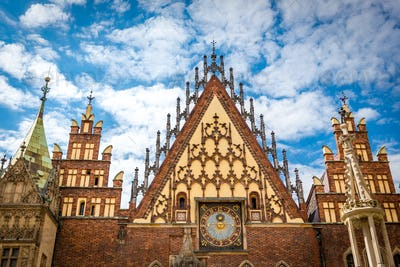 A characteristic place on the main square in Wroclaw, Poland