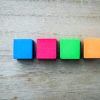 Four colored square blocks