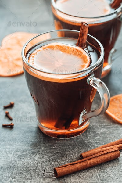 Christmas traditional hot beverage mulled wine