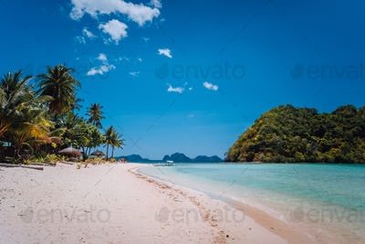 El Nido, Palawan, Philippines. Shallow lagoon, sandy beach with palm trees. Travel and vacation