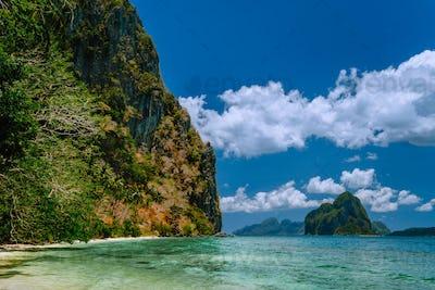 Vacation on beautiful tropical island, relax chill getaway enjoy summer in El Nido, Palawan island