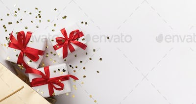 Christmas Present boxes on white background with copy space