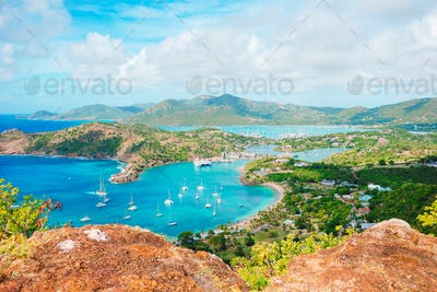 View of English Harbor from Shirley Heights, Antigua