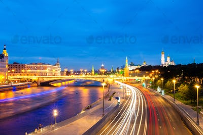 Panoramic view of Moscow landmark during sunset from Zaryadye Park