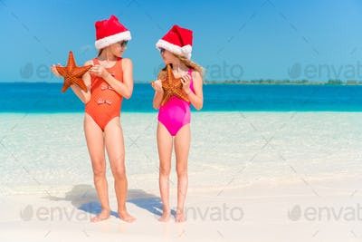 Adorable little girls with starfish on beach