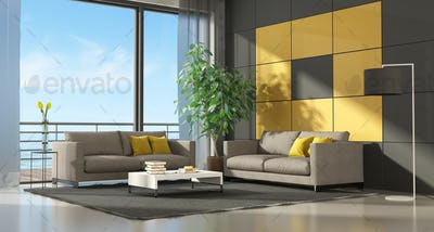 Gray and yellow modern living room two couch - 3d rendering